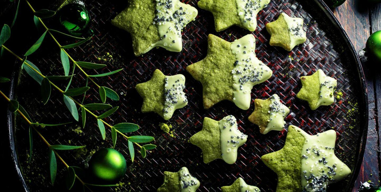 Grüne Matcha Weihnachts sterne einfaches rezept heike herden