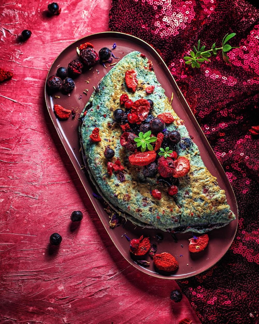 Power-Fruit Pfannkuchen mit Marmeladen Füllung