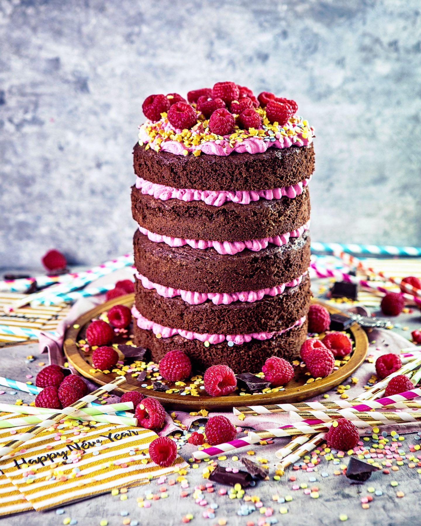 Neujahrs Verführung – Himbeer-Schokoladen Torte