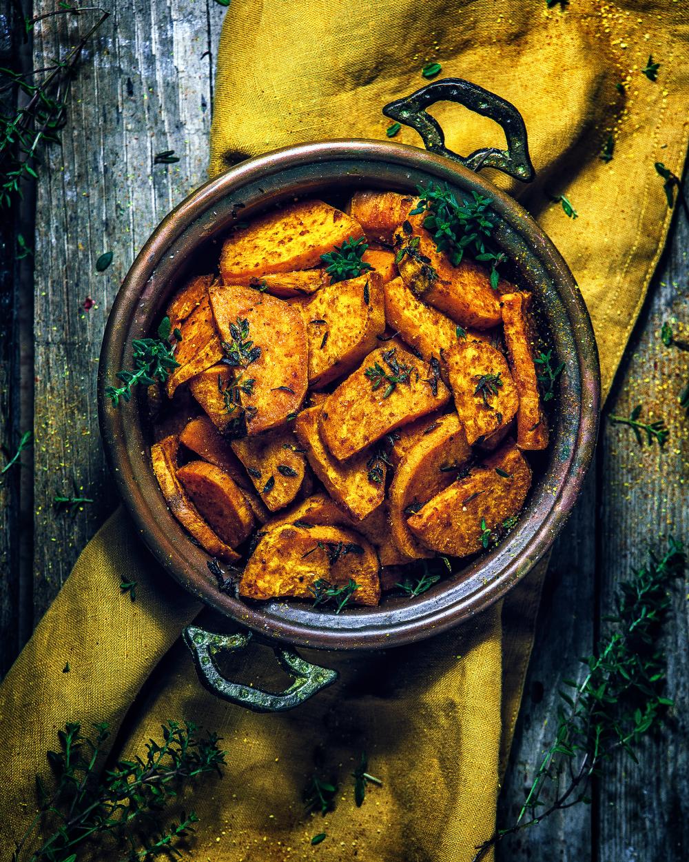 Thymian Süßkartoffeln aus dem Ofen