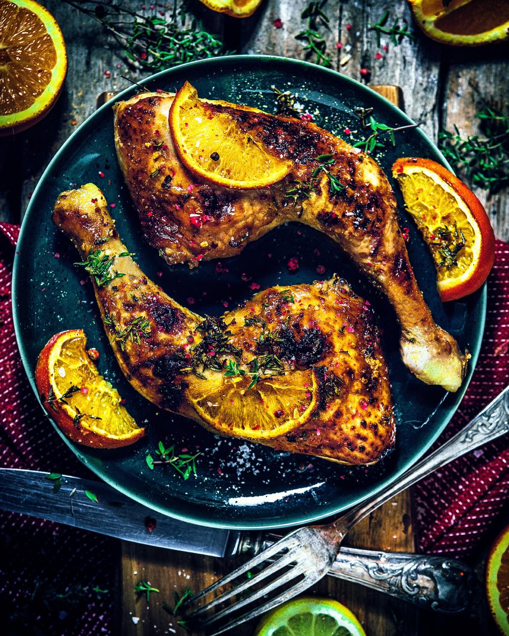 Orangen Hühnchen mit Thymian