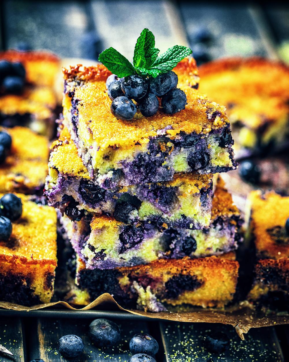 Polenta Kuchen mit Heidelbeeren (glutenfrei)