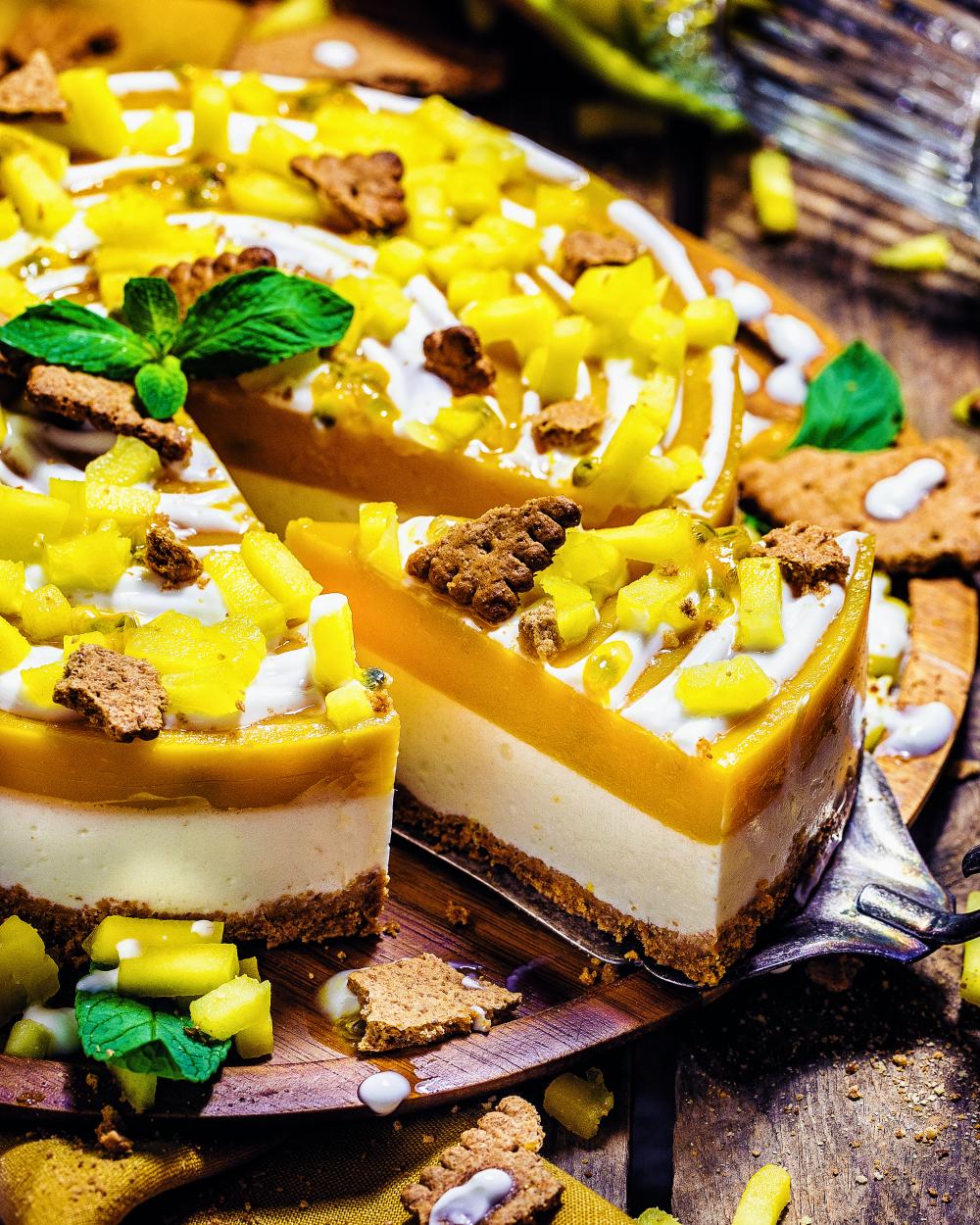 Mango-Maracuja-NoBake Cheesecake (2 Punkte pro Stück)