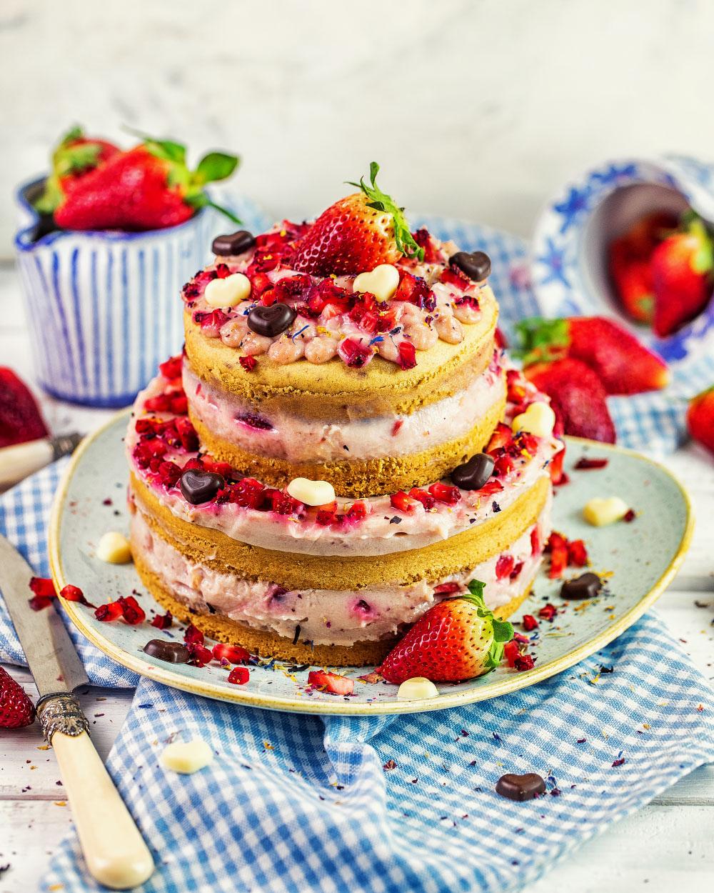 Protein Erdbeer Jogurt Torte einfaches rezept vegan