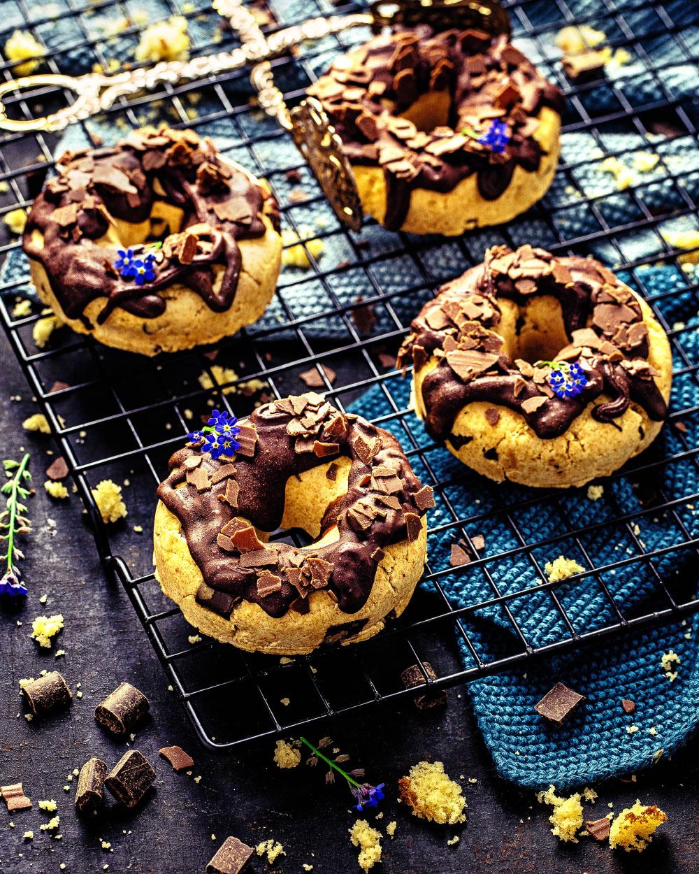 Schokoladen-NoBake-Donuts Resteverwertung-für Rühkuchenreste