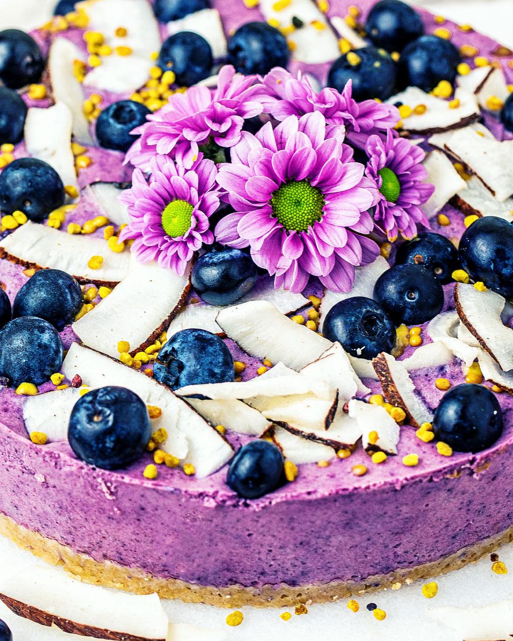 Heidelbeer-Kokos-NoBake-Cheesecake mit Oatsome KaeptnBlaubeer vegan einfaches Rezept