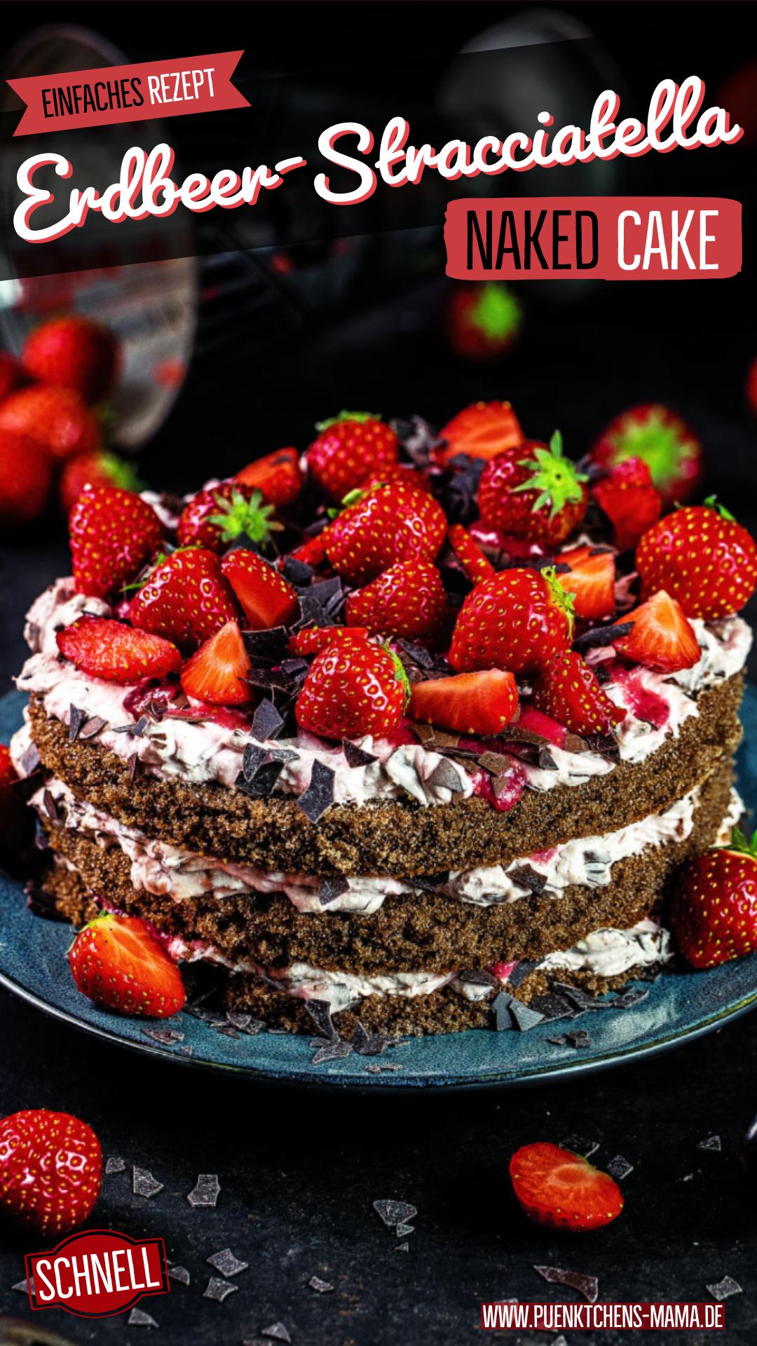Kleiner Erdbeer-Stracciatella-Naked-Cake einfaches Rezept für köstliche Geburtstagstorte
