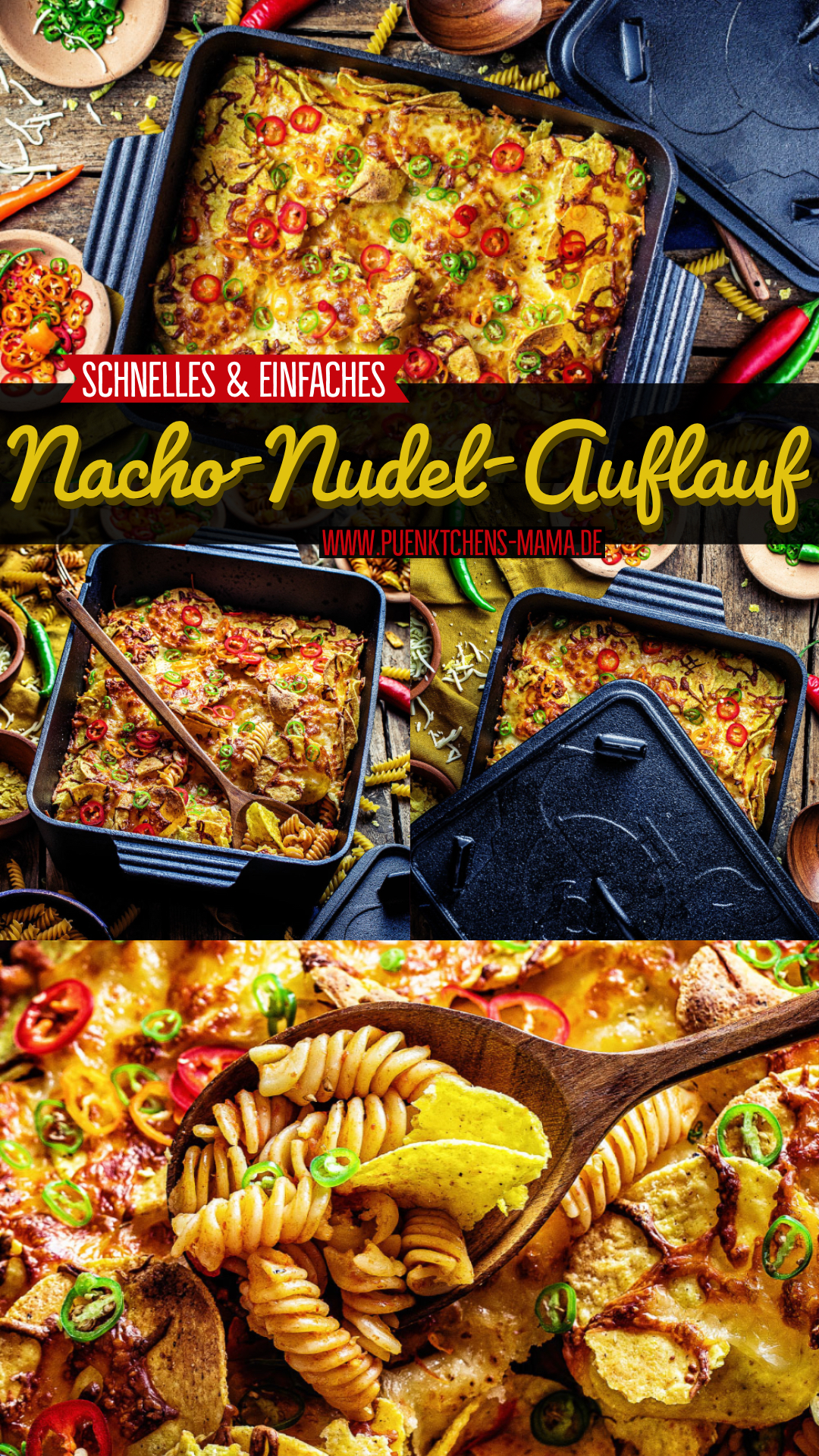 Mexikanischer Nacho-Nudel-Auflauf einfaches Rezept