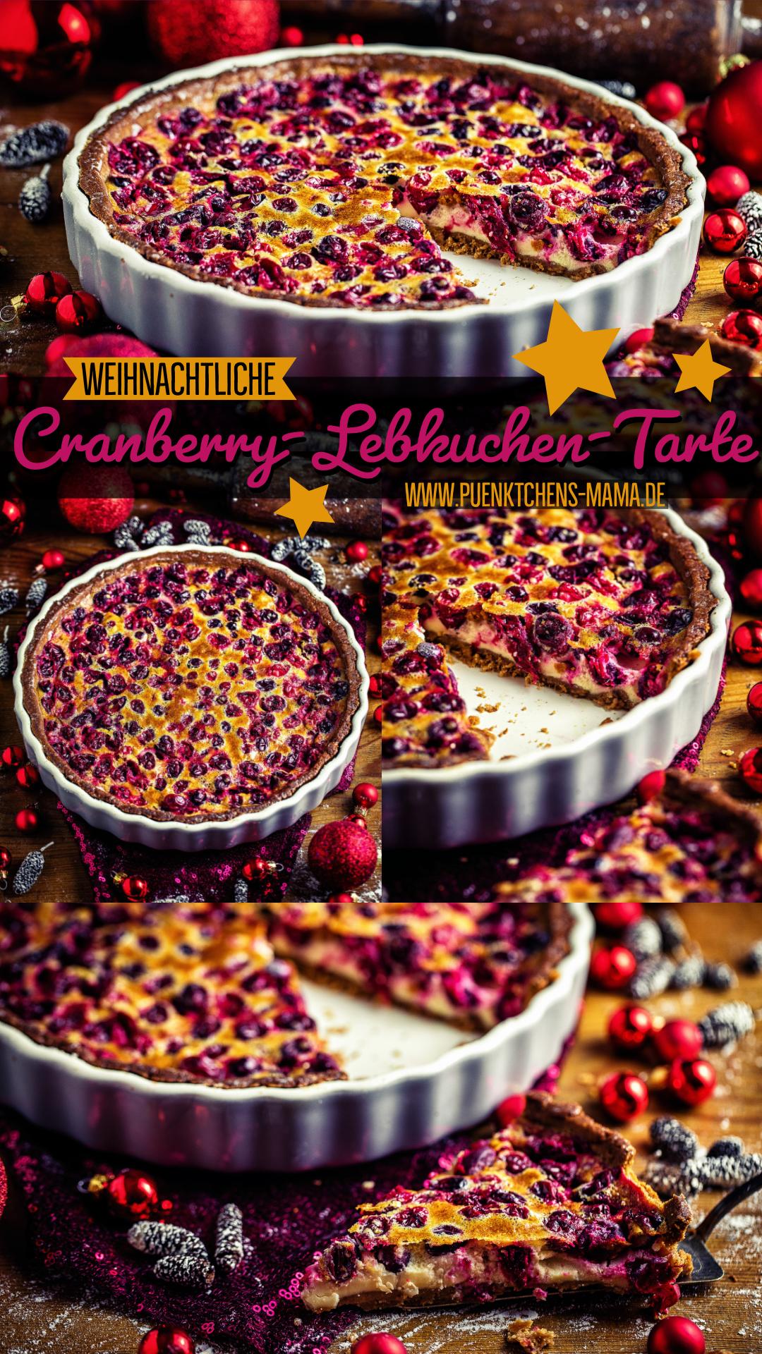 weihnachtliche cranberry-lebkuchen-tarte einfaches rezept