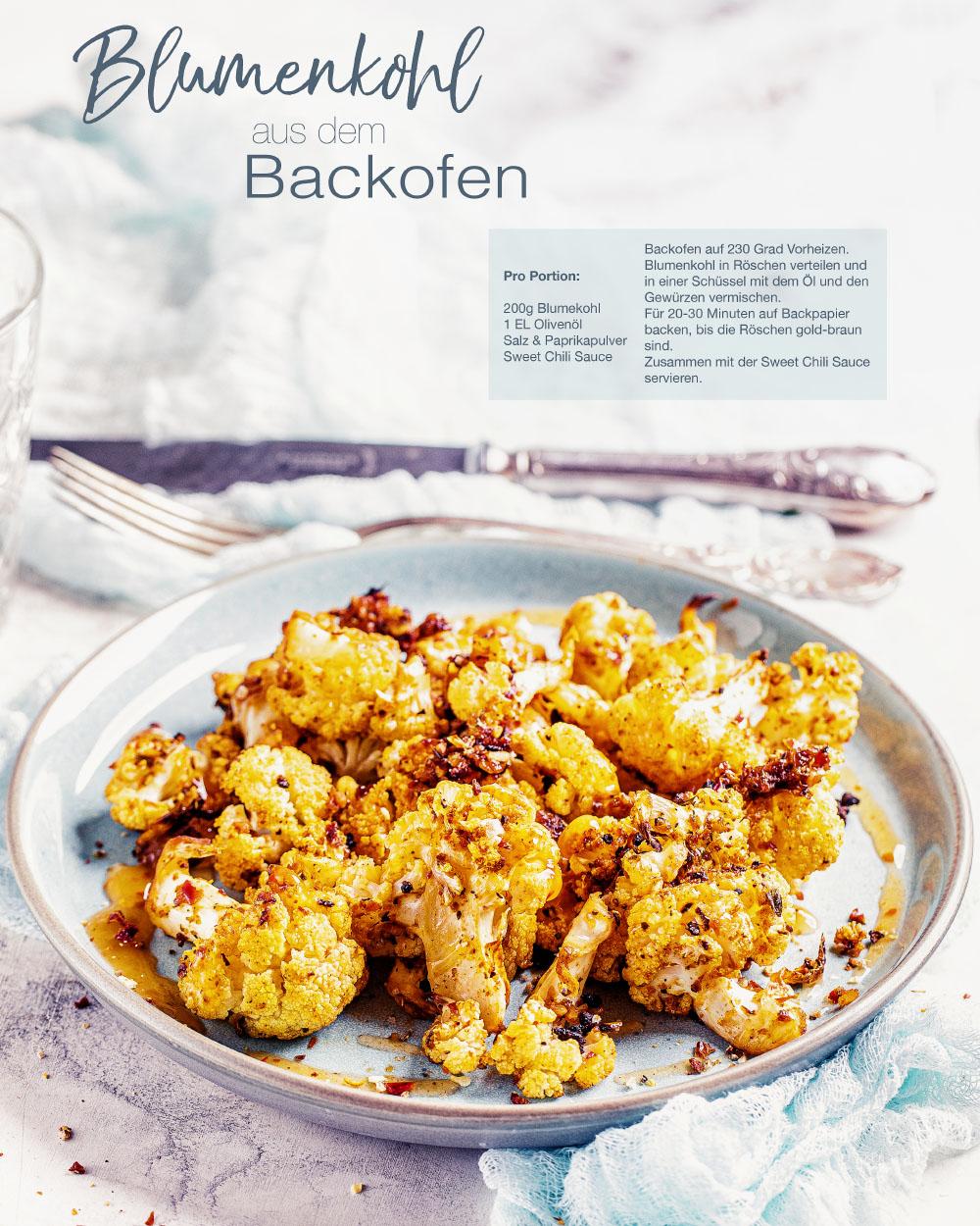 Blumenkohl aus dem Backofen gesund vegan einfaches rezept