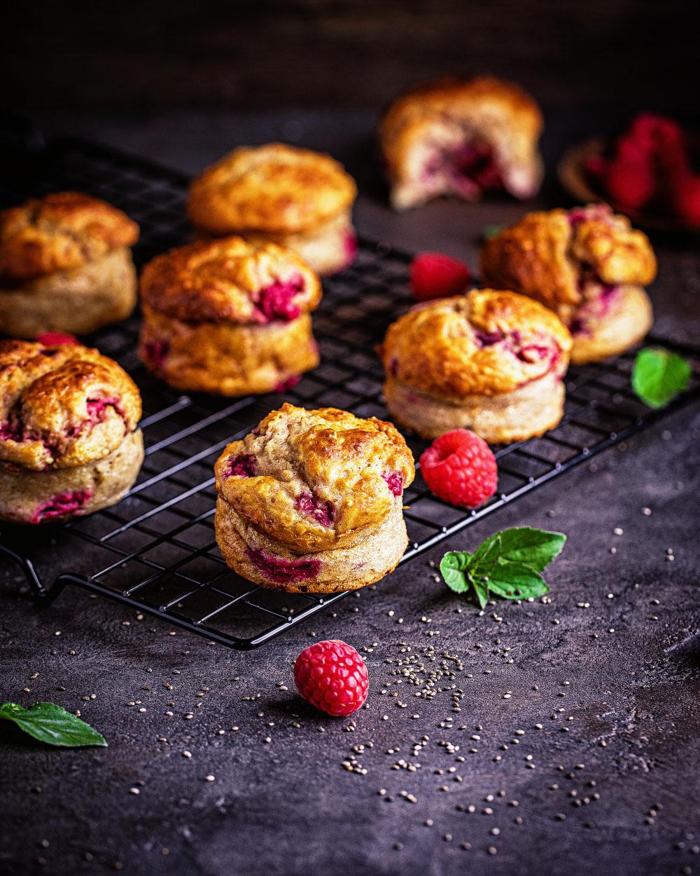 Himbeer-Quark-Muffins - gesund einfaches rezept schnell kalorienbewusst