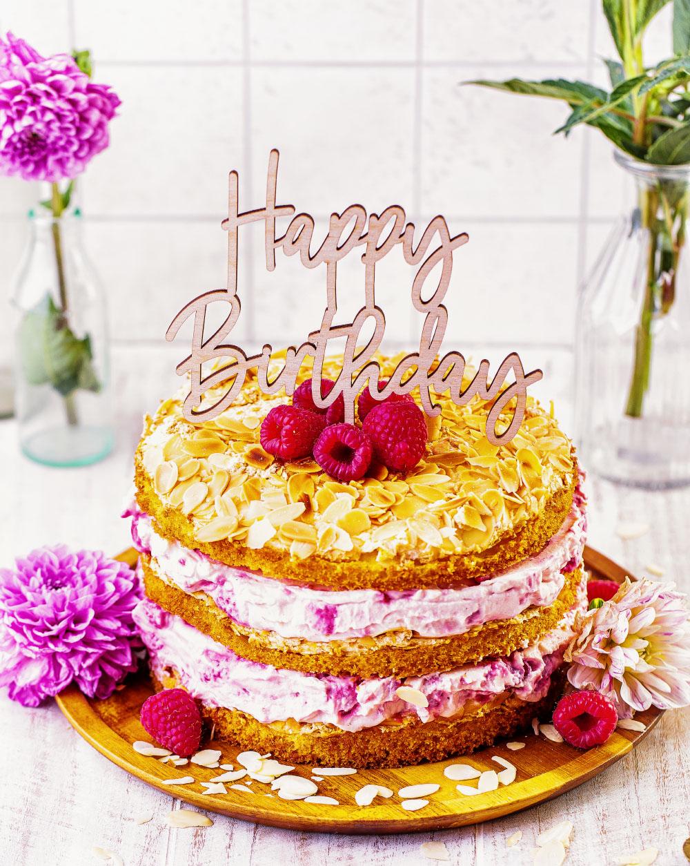 Himbeer-Quark Naked Cake Geburstagstorte einfaches rezept