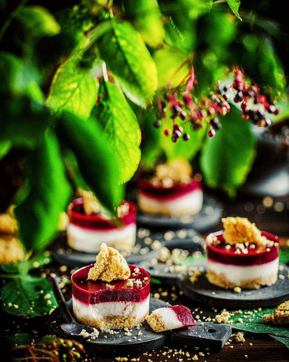 Holunder-Kokos Mini-Cheesecakes No-Bake einfaches rezept maintal #holunderparty