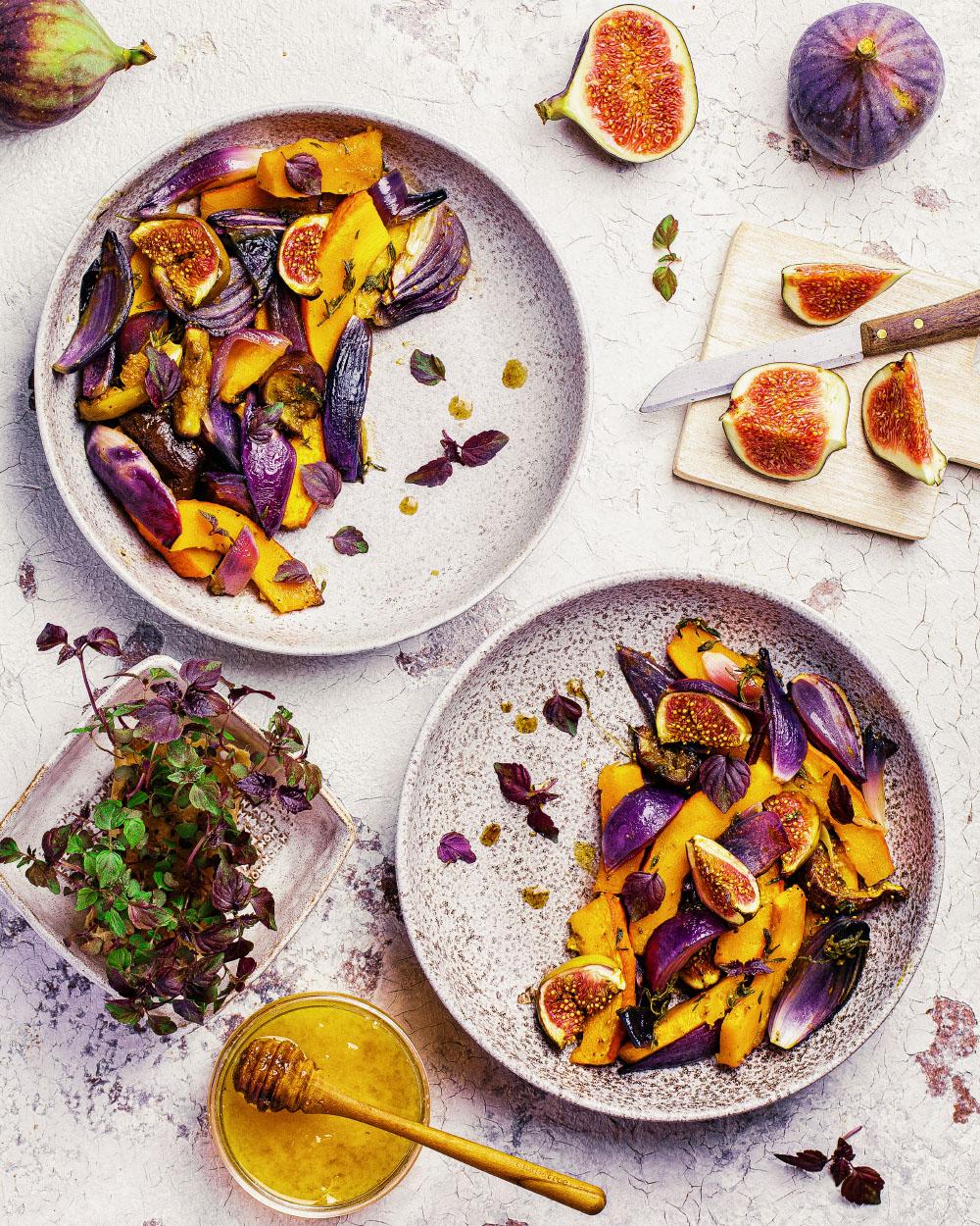 Kürbis-Feigen Gemüse aus dem Backofen gesund einfaches rezept schnell heike herden