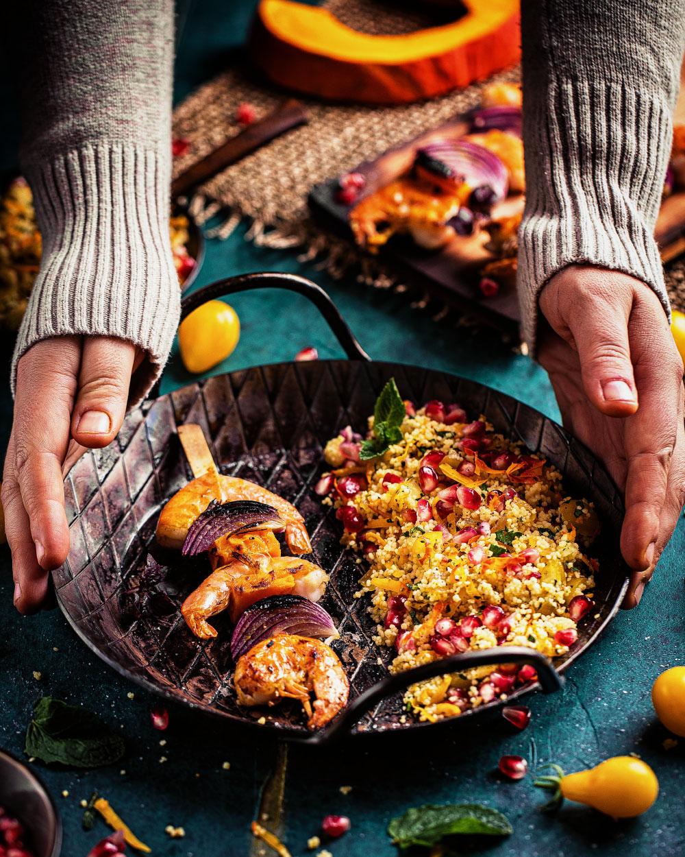 Escal King Praws-Kürbis-Spieße mit Couscous Salat einfaches Rezept