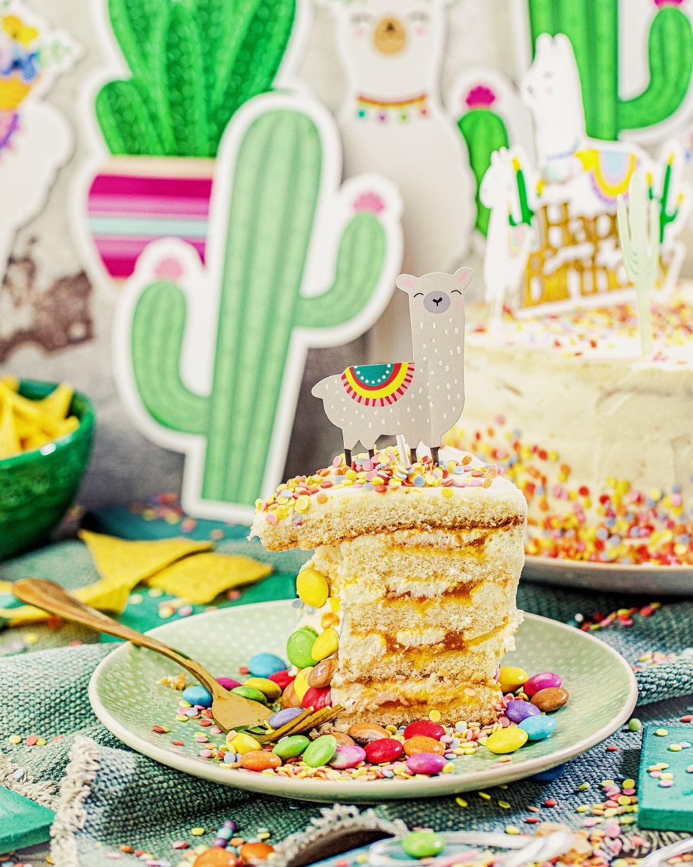Lama-Torte Pinata-Torte Kindergeburtstag Geburstagskuchen schnelles einfaches Rezept ohne backen