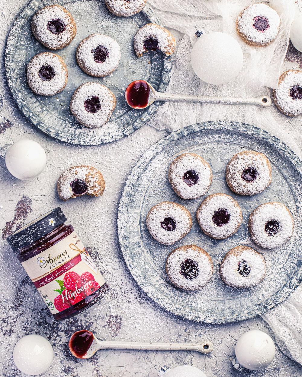 Engelsaugen dinkelvollkornmehl mit maintal konfitüren einfache und schnelles rezept weihnachten