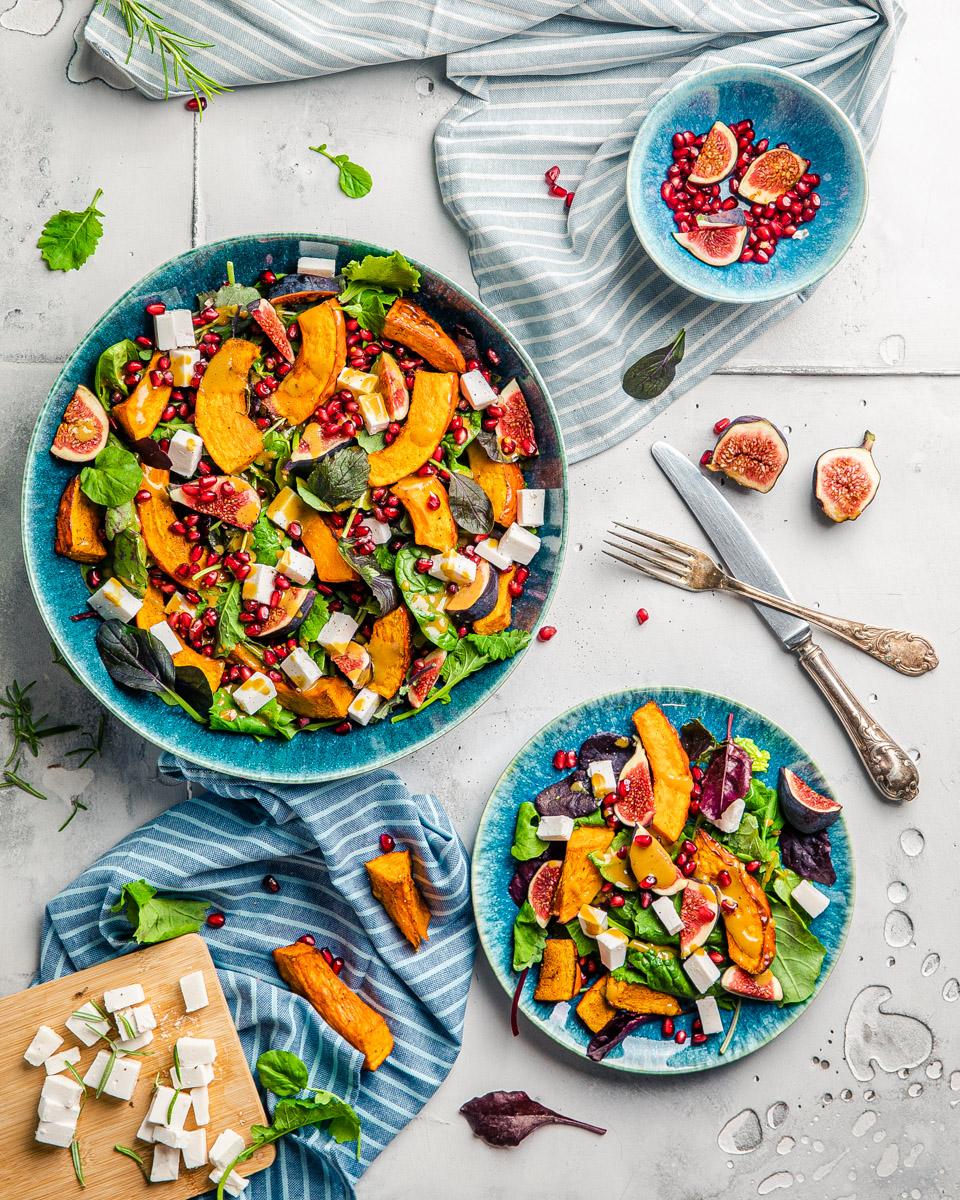 Veganer Herbstsalat mit Kuerbisspalten feta acqua e terra heike herden youtube